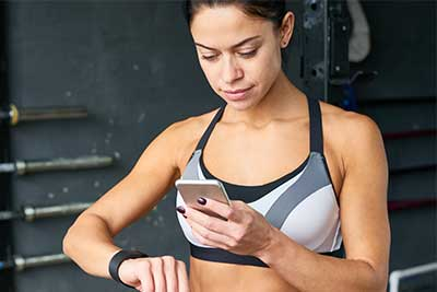 woman checking heart rate