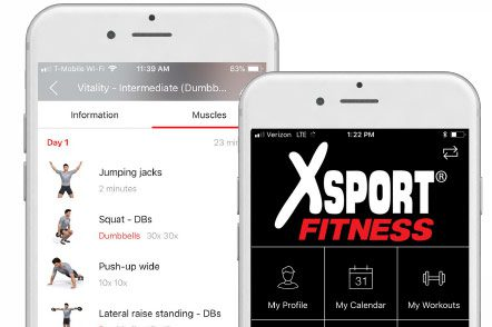 xsport fitness app on iphone