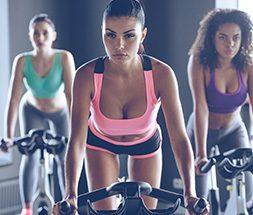 women in cycle class