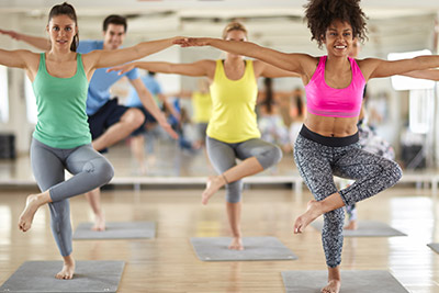 Group of people in a group exercise class