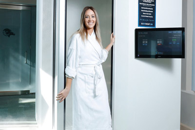 woman in a cryotherapy session
